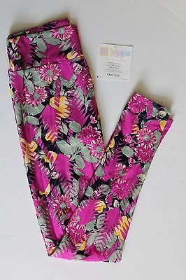 New LuLaRoe One Size leggings black fuschia floral flower arrow print NWT OS LLR