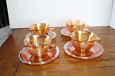 Federal Marigold Normandie Bouquet & Lattice Cups and Saucers Set of 4