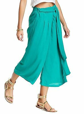 Free People NEW Green Womens Size Small S Belted Cropped Wide Pants $88 788 DEAL