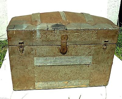 Beautiful Untouched Old Dome Humpback Tin Panel &  Wood Trunk Chest & Hardware