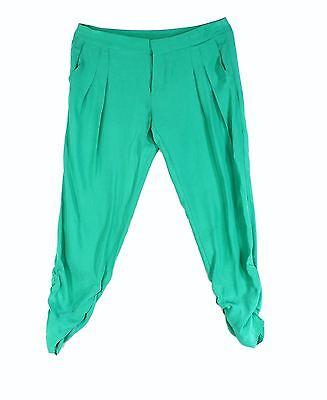 Parker NEW Green Womens Size 6 Pleated Ruched Capri Casual Pants Silk $99 806