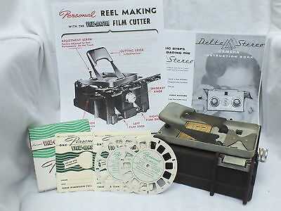 Viewmaster Cutter for Personal Stereo Camera-Very Good Condt+2 NEW reels