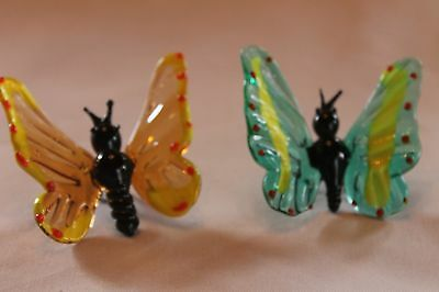 Pair Of Attractive Hand Blown Glass Butterfly Figurines   Possibly Murano Style