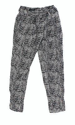 Trouve NEW Black Burgundy Womens Size 4 Printed Belted Casual Pants $60 812