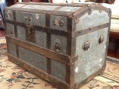 Antique Trunk Dome Top Chest Orig Hardware MYSTERY