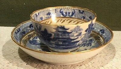 Early Chinese Export Handleless Cup Saucer Blue Willow Two On Bridge