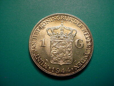 Netherlands~Silver 1944-P 1 Gulden in Very Nice Uncirculated Condition!