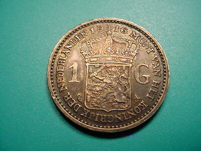 Netherlands~Key Date 1916 1 Gulden in Excellent Condition!