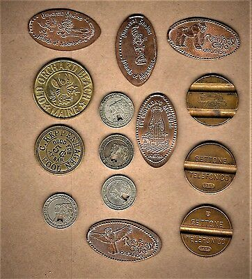 14 item lot w/ elongated cents (5) and transit  tokens(4), telephone (3) +pool +