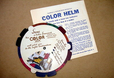 1939 Color Wheel Calculator~Contrast-Choice- Degree~Envelope~Helm Paint~Decor