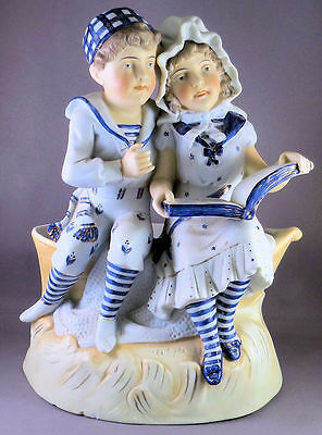 Wonderful Old Antique GERMAN Germany BISQUE Porcelain Hand painted Blue & White