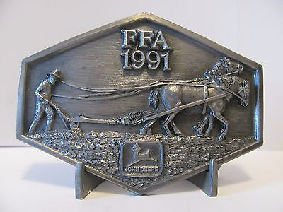 Vintage John Deere 1991 FFA Pewter Belt Buckle Limited Edition 1/500 Horse Plow