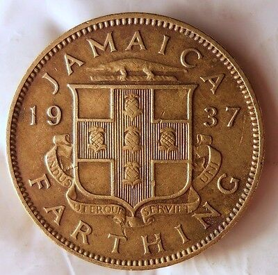 1937 JAMAICA FARTHING - AU - Very Low Mintage Coin - Lot GRL