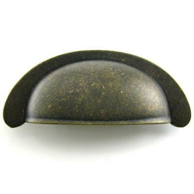 "Rustic Brass Hickory PA1022-WOA Oxford Drawer Cup Pull Handle 2.5"" CC"