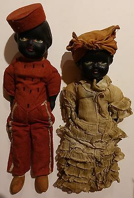 Antique / Vintage Black Americana Bellhop and Mammy Composition Dolls