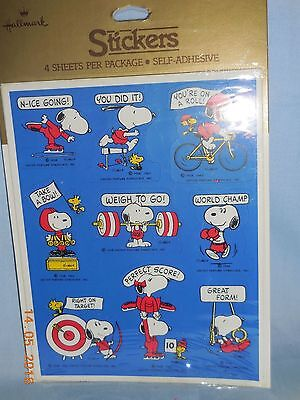 Snoopy Peanuts Vintage Sports Hallmark Award Stickers - 3 Sheets In Pkg