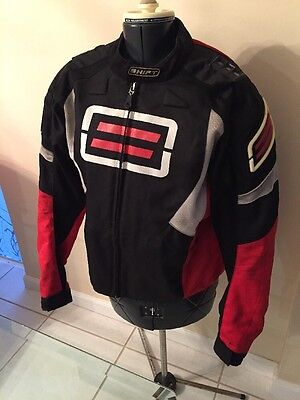 Preowned Shift Motorcycle Racing Jacket Black Red Silver Lined Arm Inserts Sz L