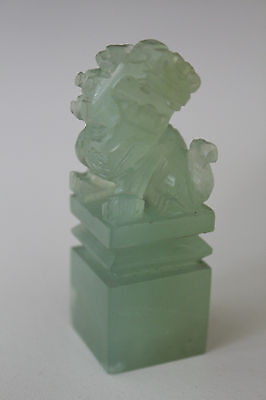 Unused 21 x 21 mm Jade Color Gem Silica Hand Made Chinese Foo Dog Chop Seal