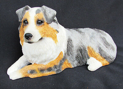 Sandicast Australian Shepherd Blue Merle dog figurine 3x5.5x2.5 inches