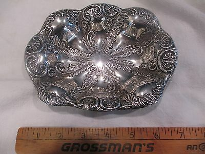 """FRADLEY Sterling Silver Victorian Repousse fern shell dish 6 1/4"""" 3.5 troy oz"""