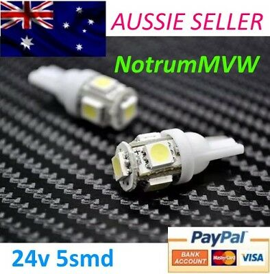 2pcs 24V LED BRIGHT WHITE 5smd 4wd Caravan Bus Truck Wedge Bulb Globe 5050 W5W