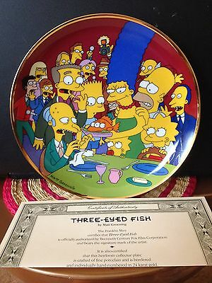 """Franklin Mint Porcelain Plate: THE SIMPSONS """"THREE-EYED FISH"""" Cert. of Auth. inc"""