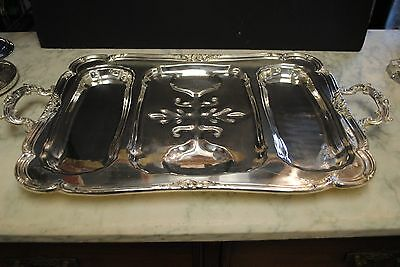"""26"""" HEAVY Silver Plate DBL. CROWNS Hallmarked  FOOTED &  HANDLES Butler's TRAY"""