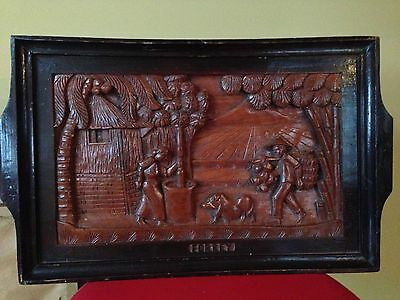 Vintage Bas Relief Carved Wood Panel Tray or Wall Hanging 20 1/2 X 12 inches