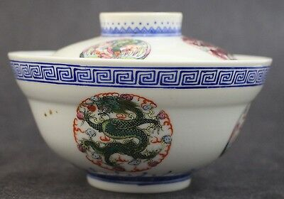Antique Chinese Export Geometric 5 Toed Dragon Phoenix Porcelain Rice Bowl w Lid