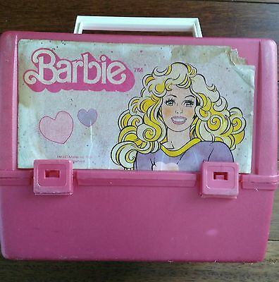 1989 Canadian Barbie Plastic Lunch Box Mattel Inc Without Drinking Thermos Pink