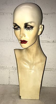 Vintage Sultry Woman Bust Head Mannequin Upper & Lower Eyelashes