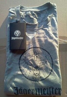 Jagermeister X-Large T-shirt w/ metal Flask combo man cave birthday gift