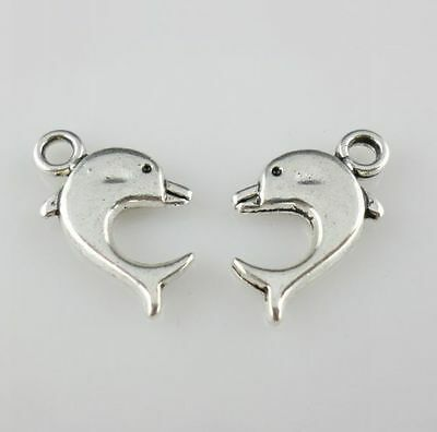 20pcs Tibetan Silver Dolphin Charms Pendants for Jewelry 9x17mm
