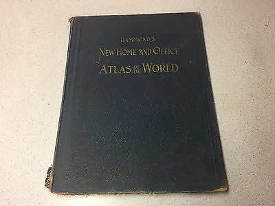 Vintage 1943 Hammond's New Home And Office Atlas Of The World Book Maps