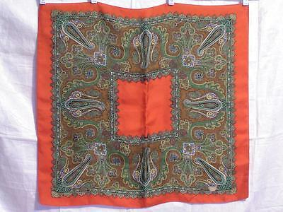 Liberty of London Silk Scarf Red with Frame of Classic Paisley in Greens & Brown