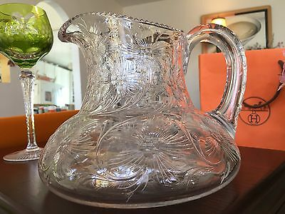 "Fine Cut Polished True Antique 8"" Plump Crystal Water Pitcher Old World Quality"