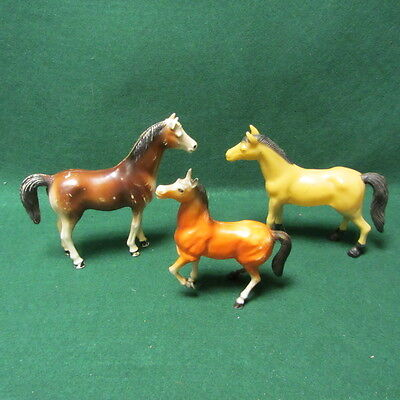 3 Vintage Molded Plastic Horses Made in Hong Kong