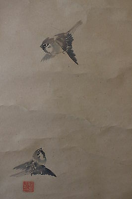 G04S9 ~Cute Flying Sparrows~ Japanese hanging Scroll