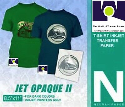 Neenah Transfer Paper Jet Opaque Ii 10 Sheets For Dark Fabrics