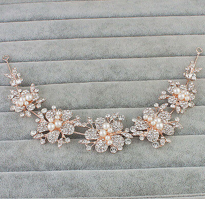 Rose Gold Headdress Pearl Bridal Headpiece Crystal Hair Vine Wedding Accessories
