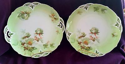 Antique Ohme Clairon Clarion green roses desert sandwich cake platters set of 2
