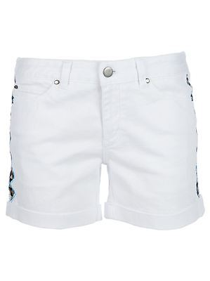 April May NEW White Womens Size 27 Embroidered Cuffed Denim Shorts $80- 843