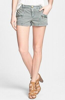 Hinge NEW Green Womens Size 8 Zip-Pocked Woven Low-Rise Stretch Shorts $46 831