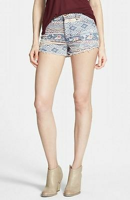 Love Fire NEW Blue Mixed Floral Print Size 3 Junior Frayed Denim Shorts 954 DEAL