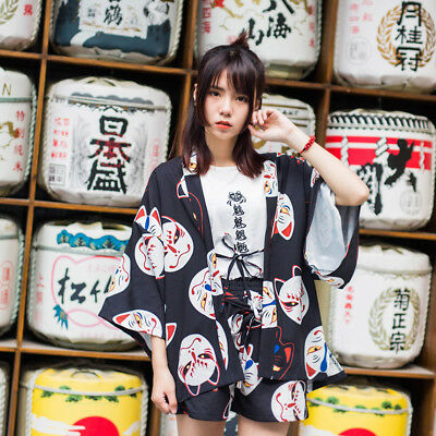 Fox Face Mask Women Vintage Japanese Yukata Punk Lolita Short Pants Summer