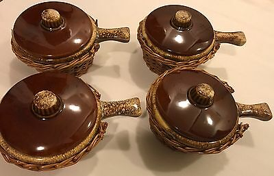 Vintage Brown Drip Hull Pottery Bowls With Lids Wicker Basket Soup Holder 1960's