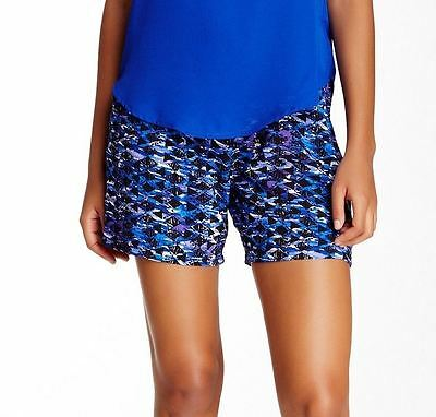 Lily White NEW Blue Navy Size Small S Junior Stretch Printed Shorts $30 514