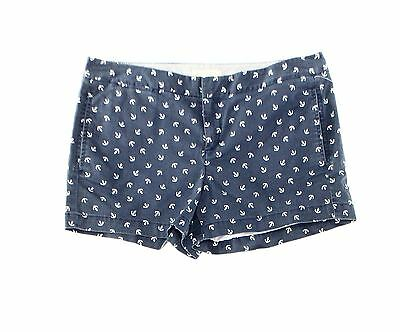 Hinge NEW Blue Navy Womens Size 8 Anchor-Print Flat Front Stretch Shorts $58 079