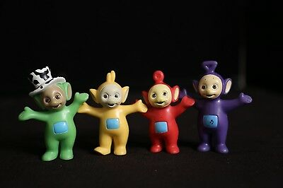 Teletubbies 1998 Vintage LOT of 4 PVC Figures (Cute Cake Toppers!)
