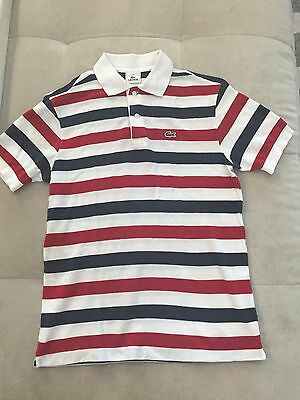 Lacoste Boys Polo Shirt Size 16 White Red Blue
